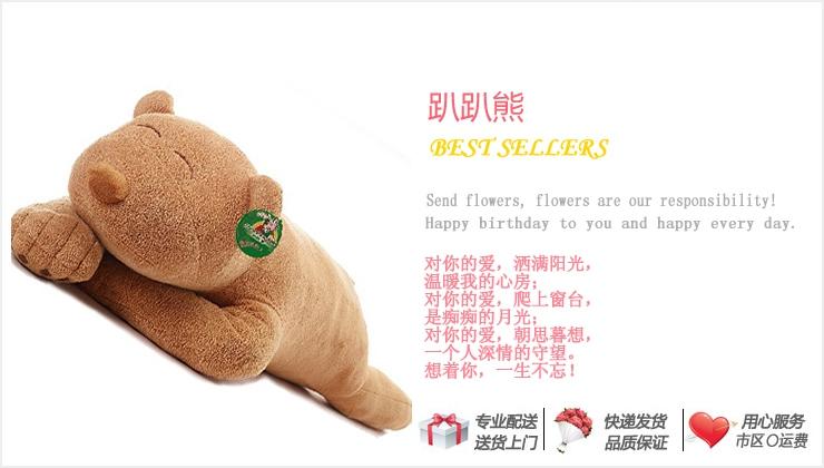 趴趴熊—快送鲜花网 卡通枕头 毛绒玩具 情人节礼品 网上订购情人节礼物网站
